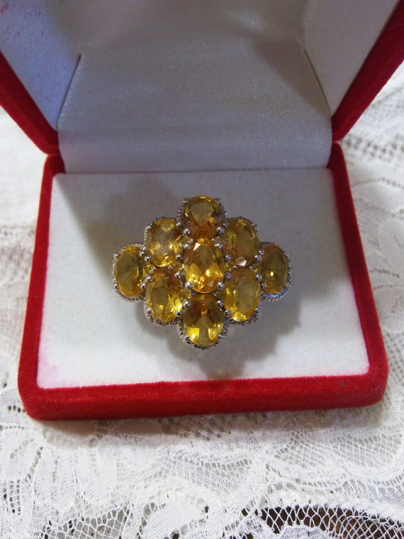 Sts 925 Sterling Silver Large Citrine Ring Size 9