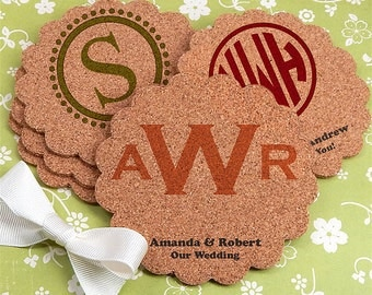 Monogram Scallop Cork Coasters, Wedding Favor Cork Coasters Personalized Coasters, Custom Wedding Coasters, Holiday Hostess Gift - Set of 12