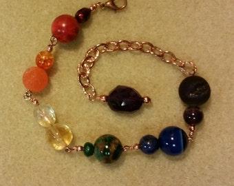 Rainbow Rox amethyst, multi gemstone and copper wristlet