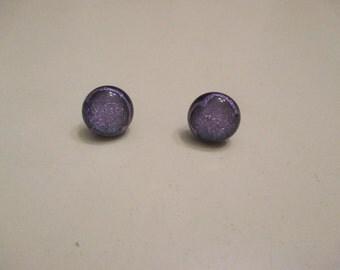 purple dichoric bead post earrings with clutch backs