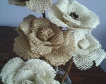 Burlap Flower on Stem
