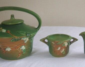 Vintage Art Deco Born Roseville Snowberry Teapot Creamer & Sugar Bowl 1940s