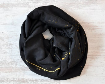 Infinity Scarf, Black Scarf, Cotton Scarf, Gold Spots Scarf