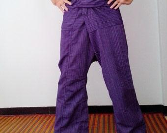 Long Wrap Pants - Thai Fisherman Pants -  Cotton Faint Stripe - Beach Pants - Winter Summer - Full Purple