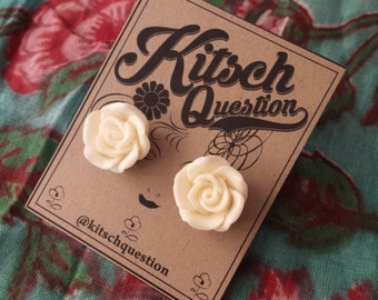 Vintage White Rose Resin Earrings