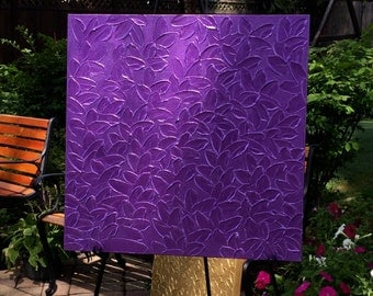 Original Hand Painted Purple Textured Fine Art Painting by Patricia Shea, Artist