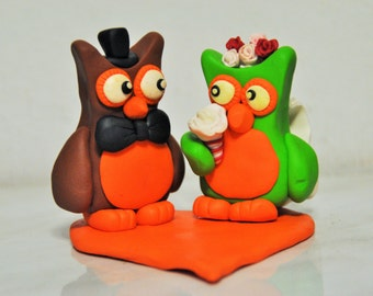 Fimo Owl Wedding Cake Topper