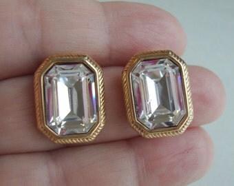 Vintage Swarovski Logo Big Faceted Glass Stoned Clip Earrings.