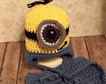 Crochet Minion Inspired Hat and Diaper Cover Set*~*Photography Prop