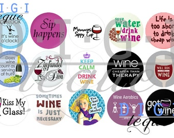 Wine Sayings - 1 inch Bottle Cap Images 4x6 Printable Bottlecap Collage INSTANT DOWNLOAD