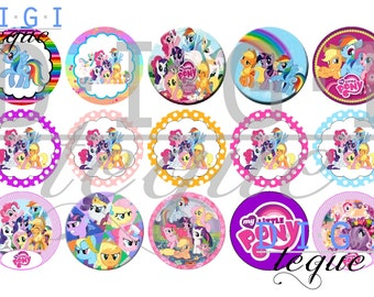 My Little Pony Mix - 1 inch Bottle Cap Images 4x6 Printable Bottlecap Collage INSTANT DOWNLOAD