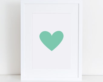 Heart in Green Solid, Art Printables, Love, Heart Art, Printable Art, Wall Art
