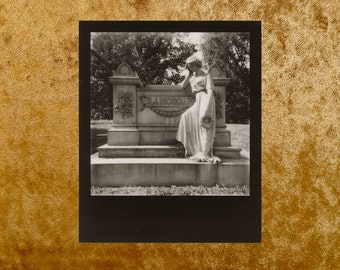Original Black & White POLAROID 600 Photo - Grave - Cemetery - Graveyard - Goth