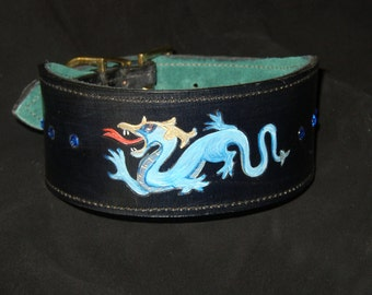 DRAGON COLLAR pattern collar for hound, whippet, greyhound, saluki, afghan, poodle, lurcher,or any other dog!