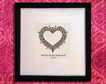 Custom 'Be My Bridesmaid' gift. Hand drawn art work, personalised gift.