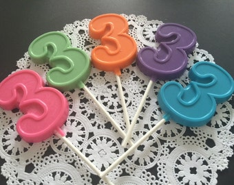 NUMBER THREE Chocolate Lollipops(12 qty) 3rd BIRTHDAY/Third Birthday Favors/Number 3 Lollipops/Kids Third Birthday/Number Three Party Favor