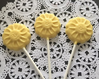 YELLOW Flower Lollipops(12 qty) - Smiles/Party Favors/Birthday Party/Flower Garden Party Favors/Desert Table Candy/Flower Shower Favors