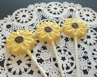 SUNFLOWER CHOCOLATE LOLLIPOPS(12 qty) - Sunflowers/Flower Garden Party Favors/Desert Table Candy/Bridal Shower Favors/Wedding Favors