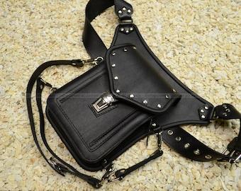Leather waist bag belt