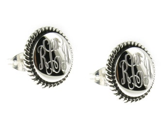 925 Sterling Silver Round Rope Edge Monogram Personalized Earrings