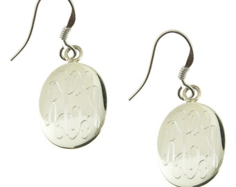 925 Sterling Silver Oval Monogram Personalized Earrings