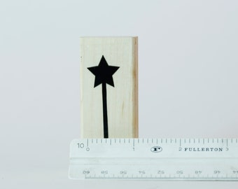 Magic Wand - Princess Wizard Fantasy - Rubber Stamp - Vintage