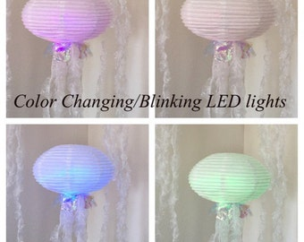 LED color changing paper lantern jellyfish