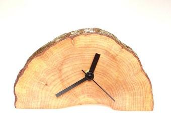 Clock, wood slice clock,wooden clock, rustic clock, desk clock (015)