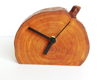 Clock, wood slice clock,wooden clock, rustic table clock, rustic clock, desk clock (018)