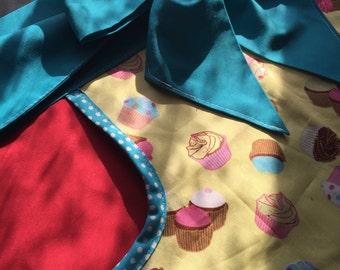 Cupcake Half Apron in Blue