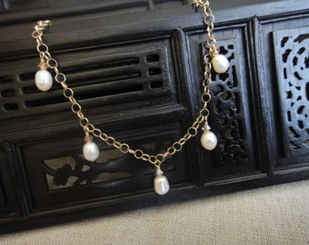 Pearl Anklet with 14K Gold Filled Chain