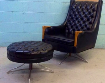 Mid Century Swiveling Tufted Vinyl Lounge Chair and Ottoman by Kroehler
