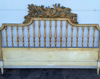 Gold Gilt Hollywood Regency style Ornately Carved King Size Headboard