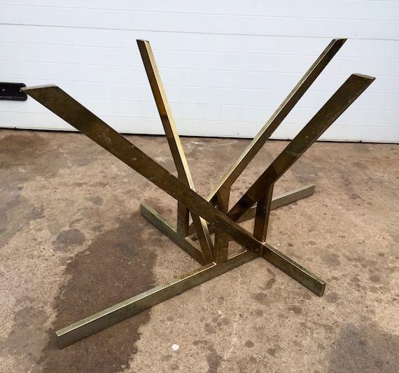 Unusual vintage sculptural metal dining table base by for Unusual dining table bases