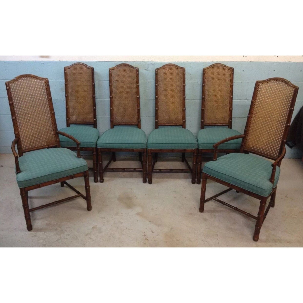 Henredon vintage faux bamboo cane back dining chairs by delcodecor