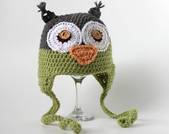 Owl Hat with Ear Flaps, Crochet, Infant, Baby, Toddler, 2T-4T, Child