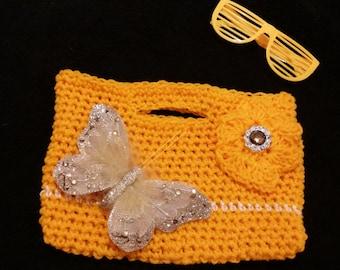 Girls orange bag.purse.