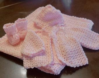 Pink Crochet Layette Set