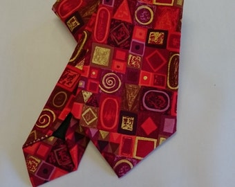 Red squares abstract tie.