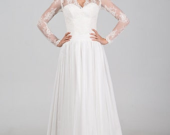 Boho Vintage Inspired Chiffon Wedding Dress with Chantilly Lace Corset, Long Lace Sleeves, Closed Lace Back and V Neck, A-Line