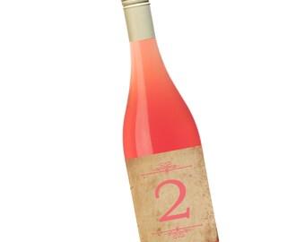 Vintage Table Numbers Wine Labels, 4x5 inch, Set of 10 Party Wine Labels, Anniversary Wine Labels