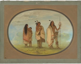 Old Masters - George Catlin, Weeco Chief His Wife and a Warrior, American, office decor, home decor, wall art, vintage painting, vintage art