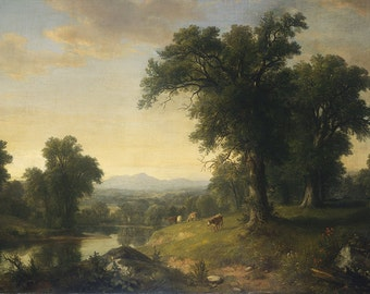 Old Masters - Asher Brown Durand, A Pastoral Scene, American, office decor, home decor, wall art, vintage painting, vintage art