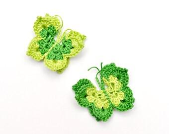 Crochet Butterfly Applique Pastel Light Green