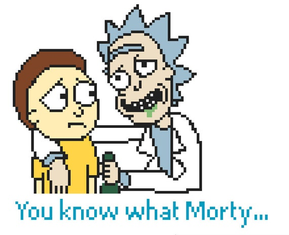 Rick and morty cross stitch pattern adult swim by stuffbyhill for Rick and morty craft list