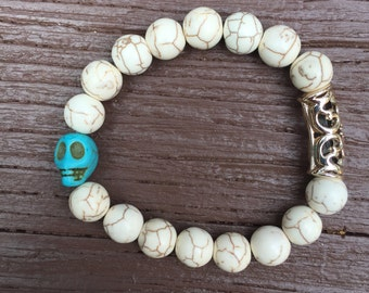 White with turquoise skull bracelet