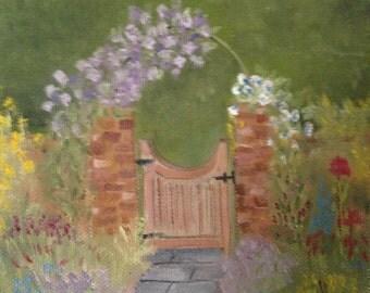 The Garden Gate, Original 6x6 Oil Painting