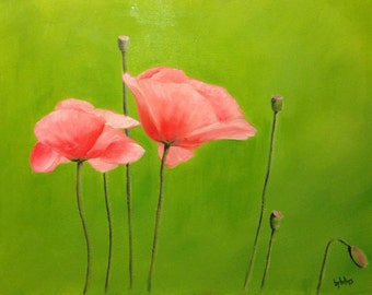Poppies, Original 16x20 Oil Painting on Canvas