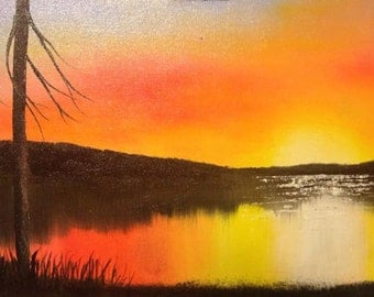Sunrise on the Water, Original 24x12 Oil Painting on Canvas