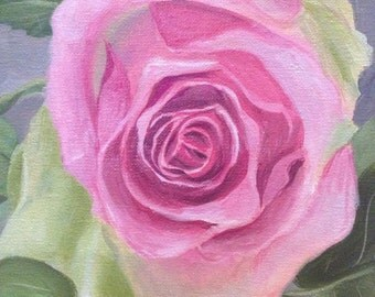 The Pink Rose, Original 8x10 Oil Painting on Canvas